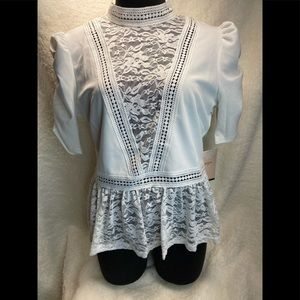 Tops - Victorian Look High Collar white blouse-firm$